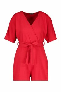 Womens Ruched Shoulder Tie Waist Playsuit - red - 16, Red