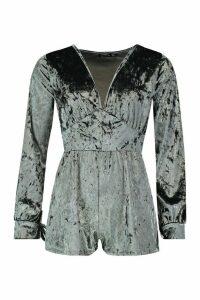 Womens Velvet Ruched Flippy Playsuit - grey - 16, Grey