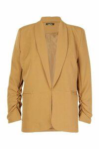 Womens Ruched Sleeve Blazer - beige - 14, Beige