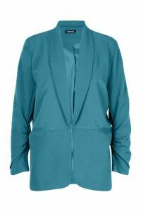 Womens Ruched Sleeve Blazer - green - 12, Green