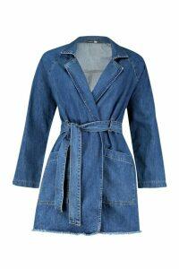 Womens Longline Denim Trench Coat - blue - 14, Blue