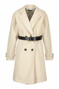 Womens Petite Belted Wool Look Trench Coat - beige - 14, Beige