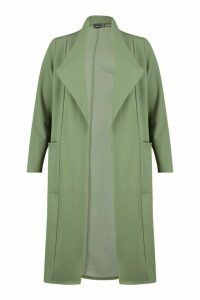 Womens Pocket Thick Duster Coat - green - 14, Green