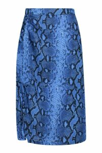 Womens Woven Snake Print Ruched Midi Skirt - blue - 14, Blue