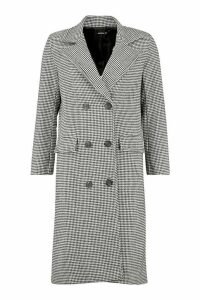 Womens Petite Dogtooth Double Breasted Longline Coat - black - 12, Black
