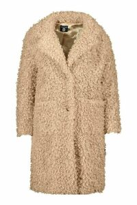 Womens Plus Teddy Faux Fur Longline Coat - beige - 24, Beige