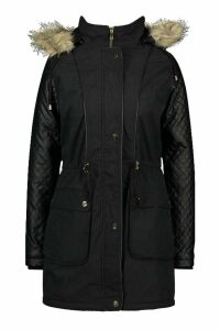 Womens Quilted Leather Look PU Sleeve Parka - black - 16, Black