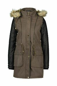 Womens Quilted Leather Look PU Sleeve Parka - green - 16, Green