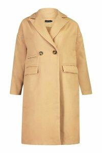 Womens Petite Pocket Detail Wool Look Coat - beige - 14, Beige
