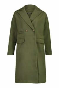 Womens Petite Pocket Detail Wool Look Coat - green - 10, Green