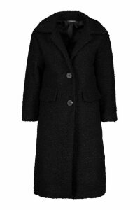 Womens Petite Teddy Fur Oversized Coat - black - 14, Black