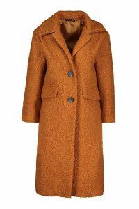 Womens Petite Teddy Fur Oversized Coat - beige - 12, Beige