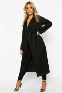 Womens Plus Soft Faux Suede Trench Coat - black - 20, Black