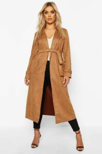 Womens Plus Soft Faux Suede Trench Coat - beige - 18, Beige