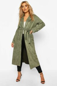 Womens Plus Soft Faux Suede Trench Coat - green - 20, Green