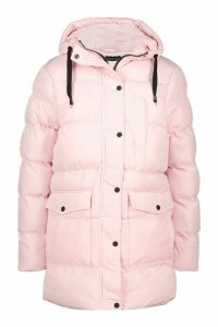 Womens Hooded Longline Parka - pink - 16, Pink