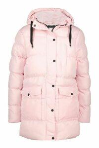 Womens Hooded Longline Parka - pink - 14, Pink