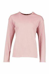 Womens Soft Oversized Long Sleeve T-Shirt - purple - M, Purple