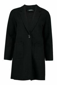 Womens Single Breasted Pocket Detail Wool Look Coat - black - 12, Black