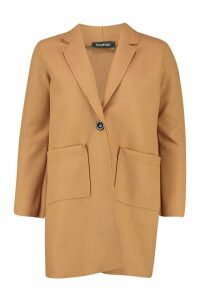 Womens Single Breasted Pocket Detail Wool Look Coat - beige - 14, Beige