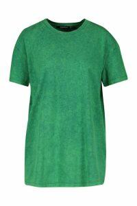 Womens Back Print Acid Wash T-Shirt Nashville - green - L, Green