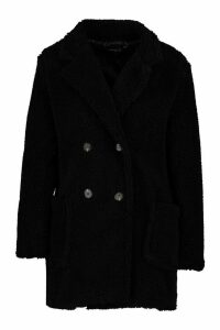 Womens Petite Double Breasted Teddy Coat - black - 12, Black