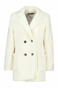 Womens Petite Double Breasted Teddy Coat - white - 12, White