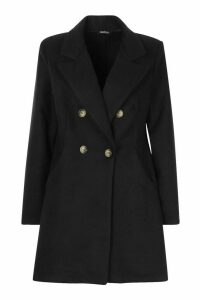 Womens Double Breasted Back Detail Wool Look Coat - black - 14, Black