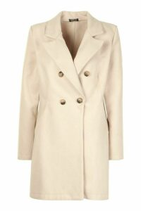 Womens Double Breasted Back Detail Wool Look Coat - beige - 14, Beige
