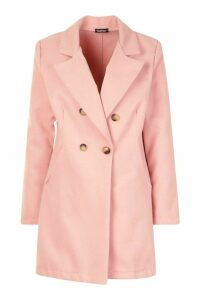 Womens Double Breasted Back Detail Wool Look Coat - pink - 14, Pink