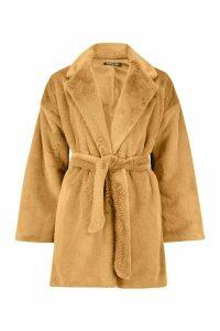 Womens Faux Fur Belted dressing gown Coat - beige - 14, Beige