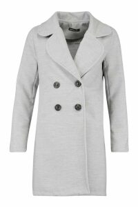 Womens Double Breasted Collared Wool Look Coat - grey - 14, Grey