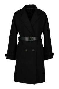 Womens Petite Belted Wool Look Trench Coat - black - 14, Black