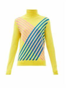 Perfect Moment - Stripe Intarsia Roll Neck Merino Wool Sweater - Womens - Yellow
