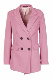 Womens Petite Longline Double Breasted Blazer - Pink - 14, Pink