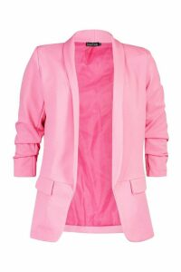 Womens Petite Ruched Sleeve Blazer - Pink - 14, Pink