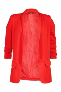 Womens Petite Ruched Sleeve Blazer - red - 14, Red