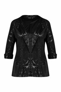 Womens Plus Sequin Velvet Oversized Blazer - black - 20, Black