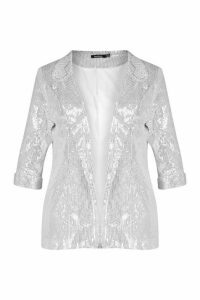 Womens Plus Sequin Velvet Oversized Blazer - white - 20, White