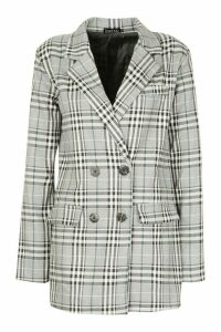 Womens Double Breasted Check Blazer - grey - M, Grey