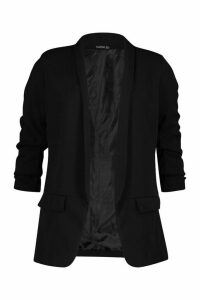 Womens Petite Ruched Sleeve Blazer - black - 14, Black