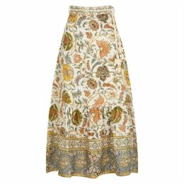 Zimmermann Edie Ivory Printed Linen Skirt