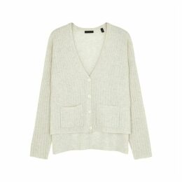 ATM Anthony Thomas Melillo Pale Grey Ribbed Cashmere Cardigan
