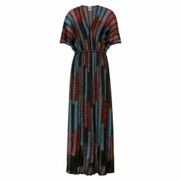 M Missoni Striped Metallic-knit Maxi Dress