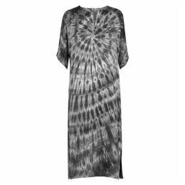 RAQUEL ALLEGRA Grey Tie-dyed Brushed-satin Dress