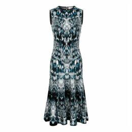 Alexander McQueen Crystal-jacquard Stretch-knit Midi Dress