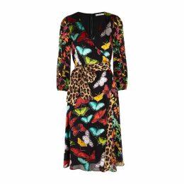 Alice + Olivia Jesse Black Floral-devoré Chiffon Dress