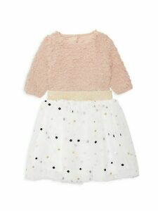 Little Girl's 2-Piece Faux Fur Top & Embellished Printed Skirt Set