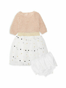 Baby Girl's 3-Piece Faux Fur Top, Skirt & Bloomers Set