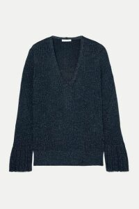 Chloé - Metallic Ribbed-knit Sweater - Midnight blue